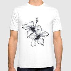 Aqua Floral White MEDIUM Mens Fitted Tee