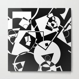 Simply Black And white - Abstract, geometric, retro, black and white random pattern Metal Print