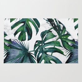 Tropical Palm Leaves Classic on Marble Rug