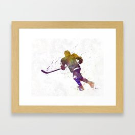 Skater with stick in watercolor Framed Art Print