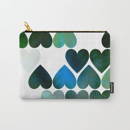 Mod Blue Hearts Carry-All Pouch