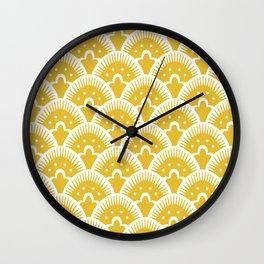 Fan Pattern Mustard Yellow 201 Wall Clock