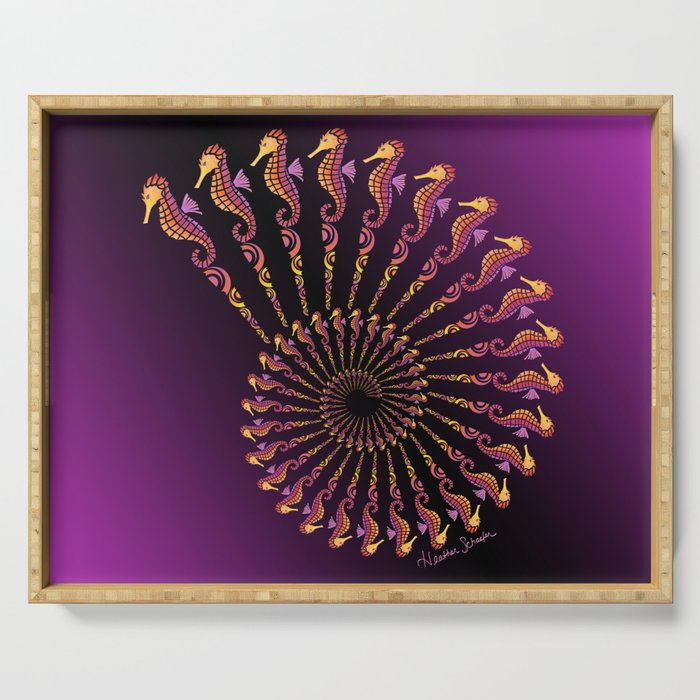 Seahorse Spiral Shell Serving Tray