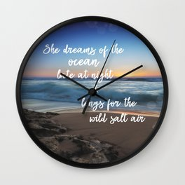 She Dreams of the Ocean Quote Wall Clock