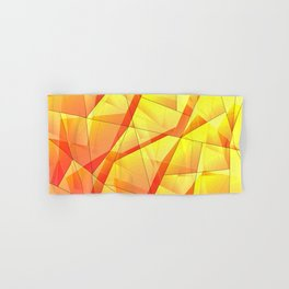 Bright contrasting fragments of crystals on irregularly shaped yellow and orange triangles. Hand & Bath Towel