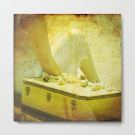 She Sells Seashells I seashells, tall tales, she sells seashells, nursery, rhyme, yellow, brown, gol Metal Print
