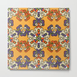 Vintage kaleidoscope ethnic style pattern. Arabic tile texture with geometric and floral ornaments. Vintage decorative texture. Indian, arabic motive. Boho style hand drawn illustration design Metal Print