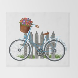 Vintage bicycle with basket full of violets flowers Throw Blanket