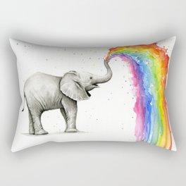 Baby Elephant Rainbow Spraying Cute Whimsical Animals Rectangular Pillow