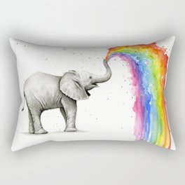 Rainbow Baby Elephant Rectangular Pillow
