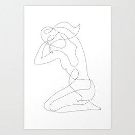 Woman with Long Hair Art Print