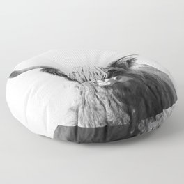 Highland cow | Black and White Photo Floor Pillow