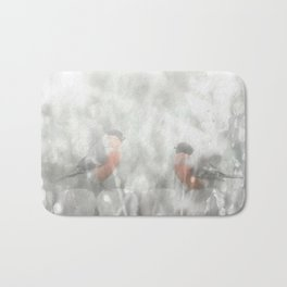 Bullfinch Birds Sitt On The Fence In Grey Winter Day Xmas #decor #society6 Bath Mat