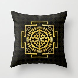 Golden Sri Yantra  / Sri Chakra Throw Pillow