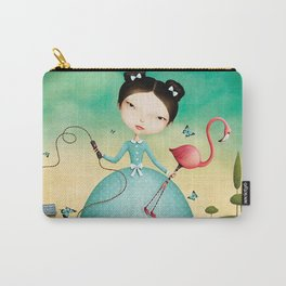 mechanical girl and flamingos Carry-All Pouch
