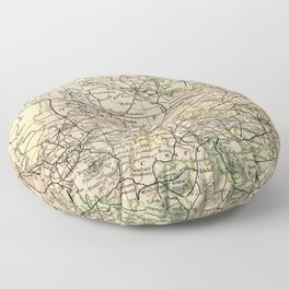 Old and Vintage Map of Germany Outline Floor Pillow