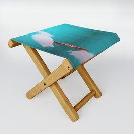 Egret in teal Folding Stool