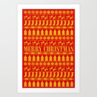merry christmas Art Prints featuring Merry Christmas by Fimbis