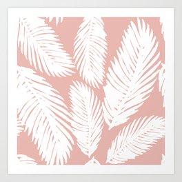 White Tropical Palm Tree Fern Leaf on Rose Gold Pattern Art Print