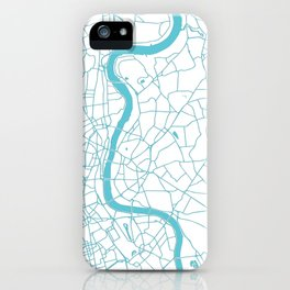 London White on Turquoise Street Map iPhone Case
