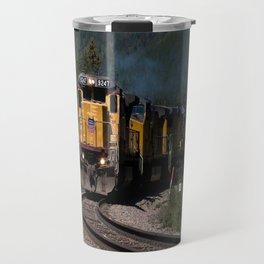 Train in Mountain Pass Travel Mug
