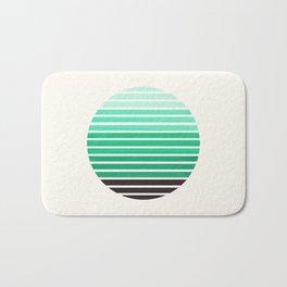Teal Green Mid Century Modern Minimalist Scandinavian Colorful Stripes Geometric Pattern Round Circl Bath Mat