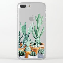 Potted Cacti Clear iPhone Case
