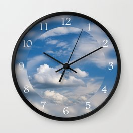 Sunny cirrus and cumulus cloudscape Wall Clock