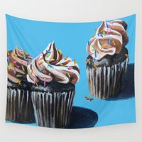 cupcakes Wall Tapestries featuring Cupcakes by Jody Edwards Art