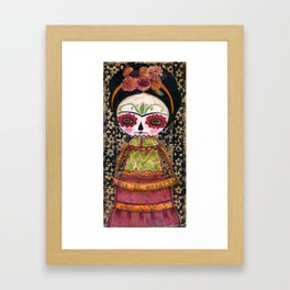 Frida The Catrina - Dia De Los Muertos Painted Skull Mixed Media Art Framed Art Print