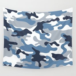 Blue and White Camo Wall Tapestry
