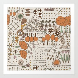 Ditsy Garden in brown Art Print