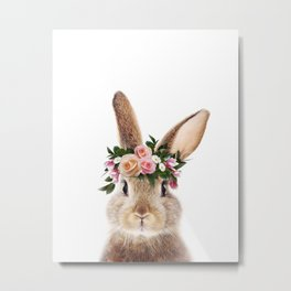 Baby Rabbit, Brown Bunny With Flower Crown, Baby Animals Art Print By Synplus Metal Print