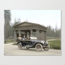 People in a car in front of Lumbermen's Arch at Stanley Park, 1913 Canvas Print