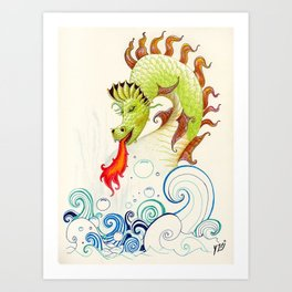 A happy dragon Art Print