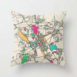 Colorful City Maps: Hanover, Germany Throw Pillow