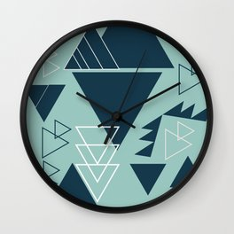 Geometric leftovers in blue Wall Clock