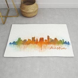 Austin Texas, City Skyline, watercolor  Cityscape Hq v3 Rug