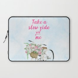 Take a Slow Ride With Me White Bicycle Flower Basket Laptop Sleeve
