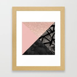 Modern pastel pink black strokes watercolor color block Framed Art Print