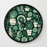 Paisley succulents Wall Clock
