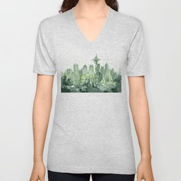 Seattle Watercolor Painting Unisex V-Neck