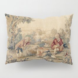 Aubusson  Antique French Tapestry Print Pillow Sham