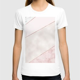 Spliced mixed pink marble and rose gold T-shirt