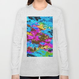 psychedelic splash painting abstract texture in blue pink yellow brown green Long Sleeve T-shirt
