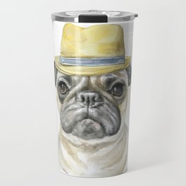 Pug with Fedora Hat Watercolor Travel Mug