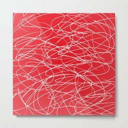 Hand Drawn Scribbles (white/red) Metal Print