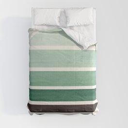 Deep Green Mid Century Modern Minimalist Circle Round Photo Staggered Sunset Geometric Stripe Design Comforters