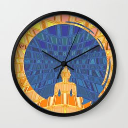 Blue and Orange Geometric Buddha Abstract Wall Clock