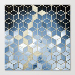 Shades Of Blue Cubes Pattern Canvas Print